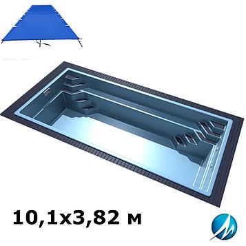 Поливиниловое накрытие для стекловолоконного бассейна 10,1х3,82 м
