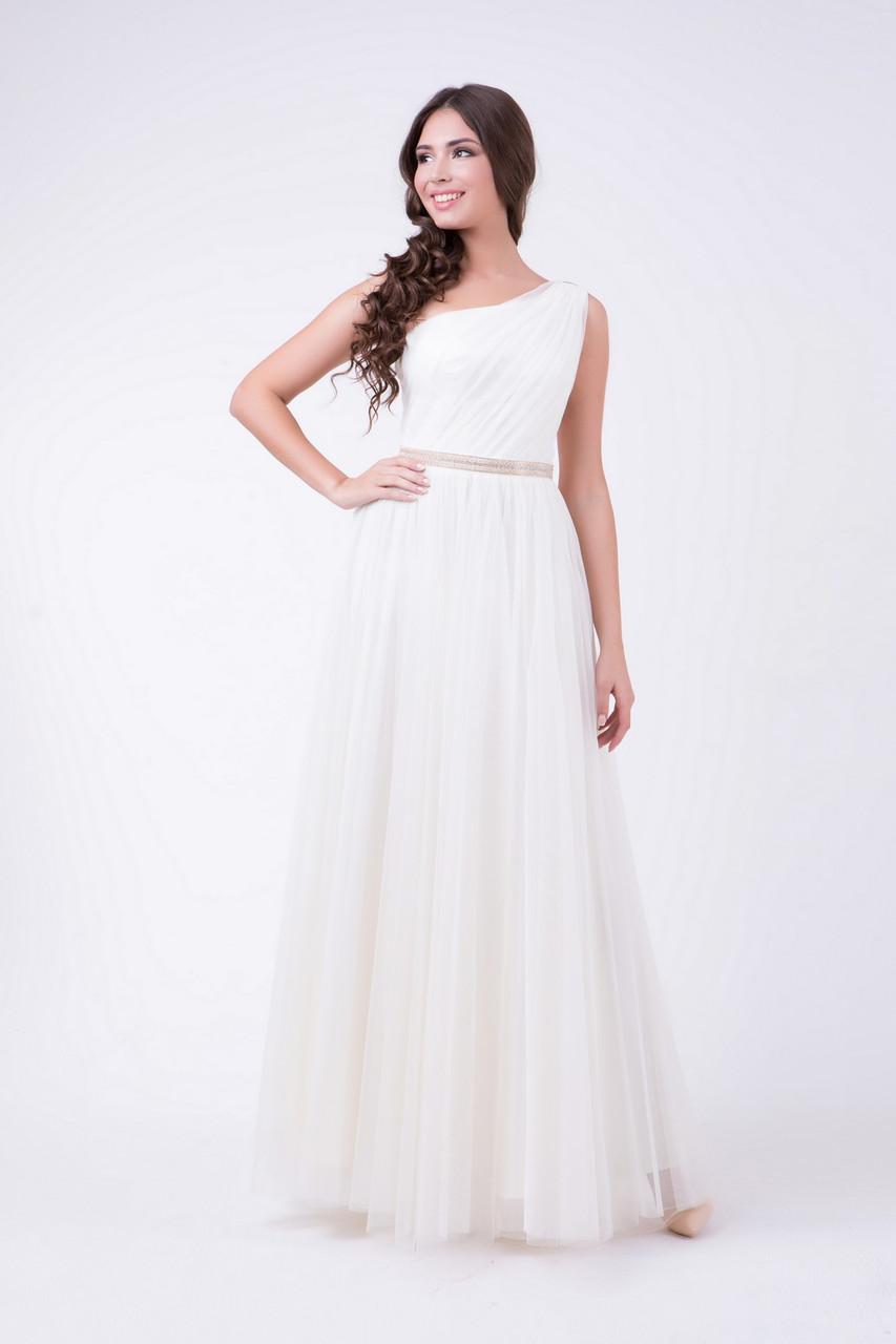 Женское платье вечернее молочное в пол RicaMare MKRM456-17VC