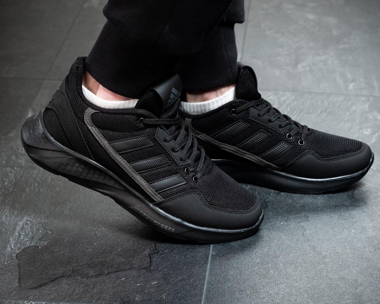 Мужские кроссовки Adidas Черные Сетка, Реплика
