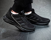 Чоловічі кросівки Adidas Чорні Сітка, Репліка, фото 1