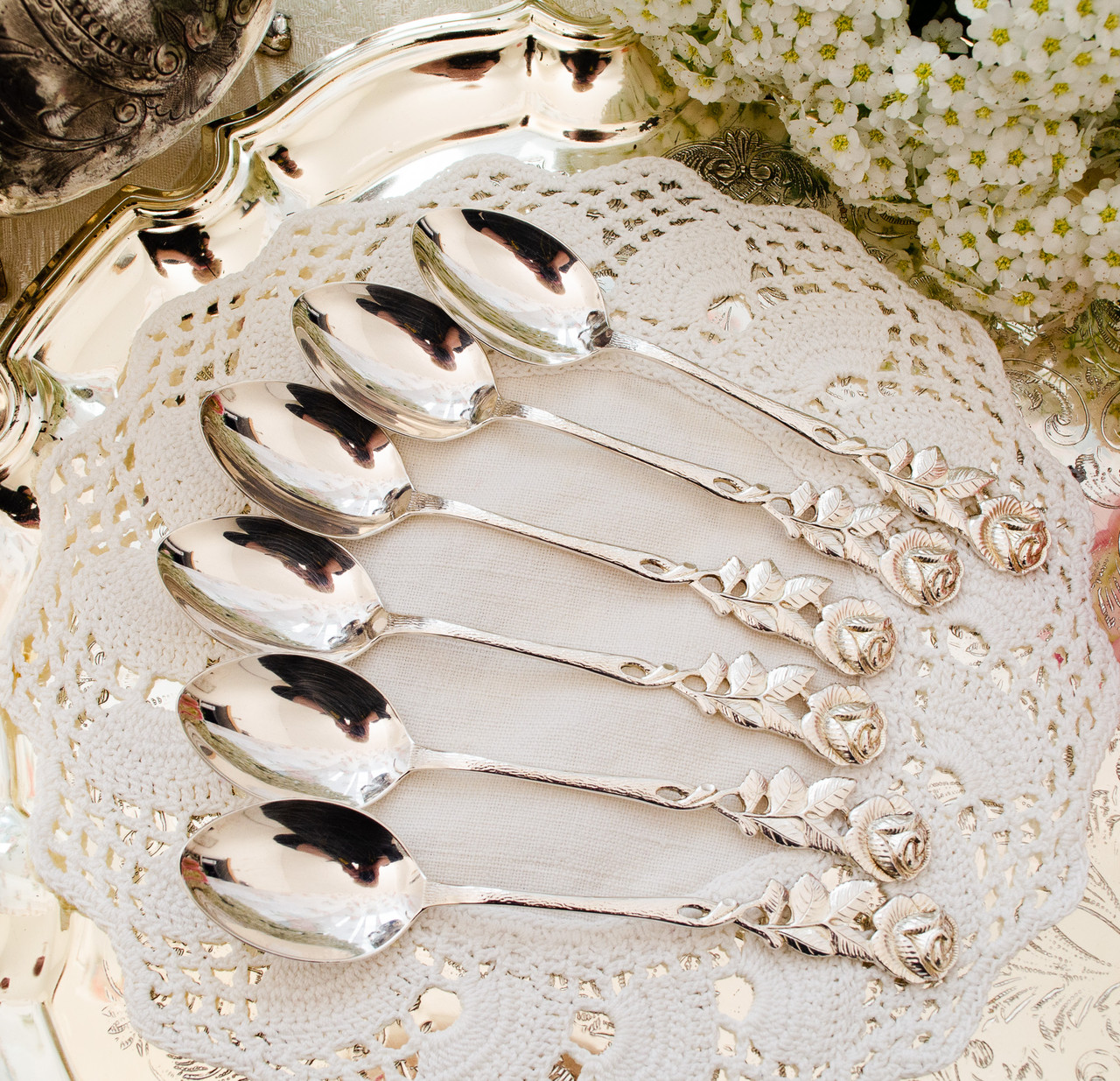 Набір посріблених чайних ложечок з трояндочкою на ручці, сріблення, Німеччина, ANTIKO 100