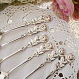 Набір посріблених чайних ложечок з трояндочкою на ручці, сріблення, Німеччина, ANTIKO 100, фото 3