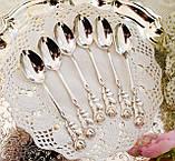 Набір посріблених чайних ложечок з трояндочкою на ручці, сріблення, Німеччина, ANTIKO 100, фото 9