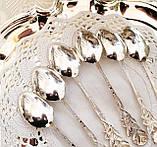Набір посріблених чайних ложечок з трояндочкою на ручці, сріблення, Німеччина, ANTIKO 100, фото 6