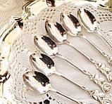 Набір посріблених чайних ложечок з трояндочкою на ручці, сріблення, Німеччина, ANTIKO 100, фото 2