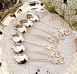 Набір посріблених чайних ложечок з трояндочкою на ручці, сріблення, Німеччина, ANTIKO 100, фото 5