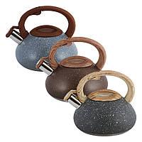 Чайник Kamille Сірий 2.5 л з нержавіючої сталі зі свистком і бакелітовою ручкою для індукції і газу KM-0680, фото 1
