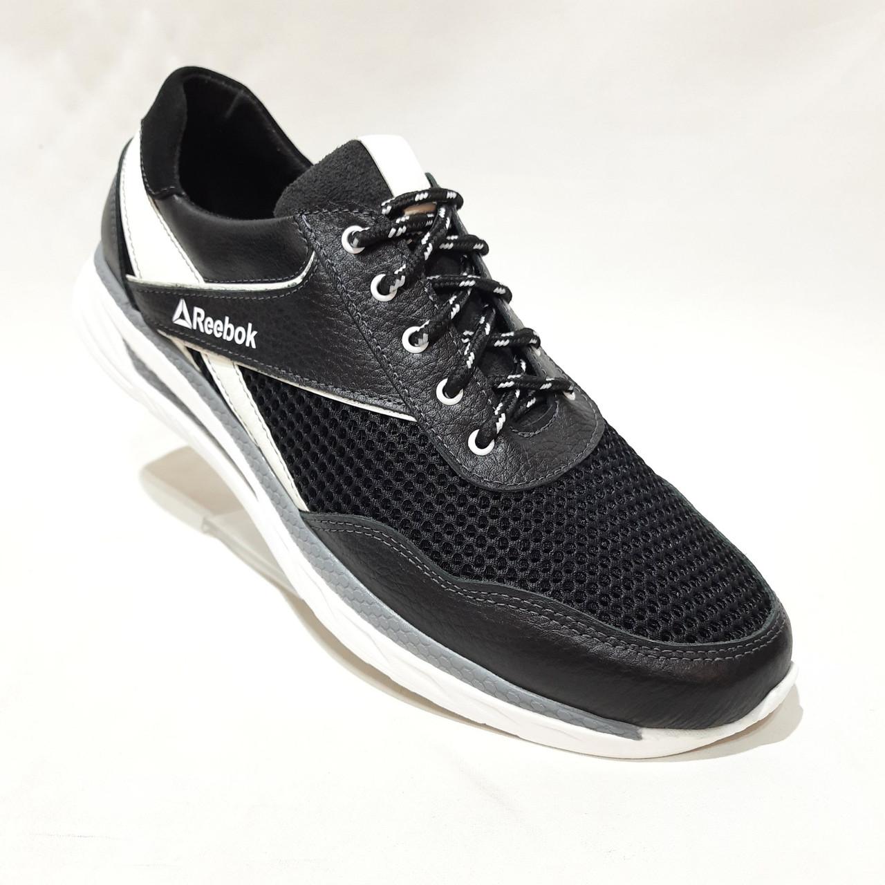 Летние мужские кроссовки (Больших размеров) в стиле Reebok Кожа+сетка черные 46,47,48,49,50