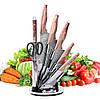 Набір кухонних ножів Kamille і ножиці на акриловій підставці 8 предметів KM-5149