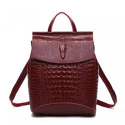 Женский рюкзак кожаный красный под змеиную кожу Realer