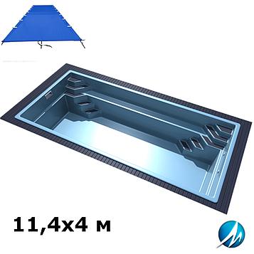 Поливиниловое накрытие для стекловолоконного бассейна 11,4х4 м