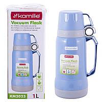 Термос Kamille Блакитний 1000мл пластиковий зі скляною колбою KM-2023, фото 1
