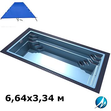 Поливиниловое накрытие для стекловолоконного бассейна 6,64х3,34 м
