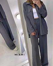 Женский костюм, американский креп жатка, р-р 42-44; 44-46 (стальной)