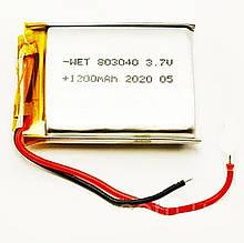 Аккумулятор литий-полимерный WET 803040 3,7V 1200mAh (8*30*40мм)
