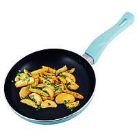 Сковорода Kamille Бирюзовый 20см с антипригарным покрытием без крышки для индукции и газа KM-4240A, фото 1