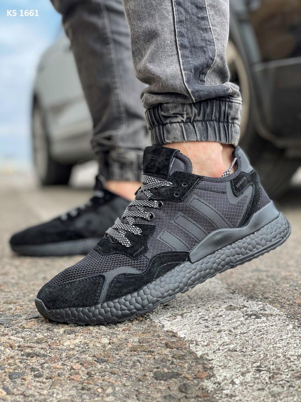 Кроссовки мужские Adidas Nite Jogger Boost текстильные черные Рефлектив Адидас (Топ реплика ААА+)