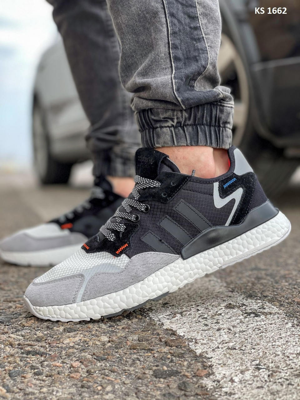 Кросівки чоловічі Adidas Nite Jogger Boost текстильні сірі Рефлектив Адідас (Топ репліка ААА+)