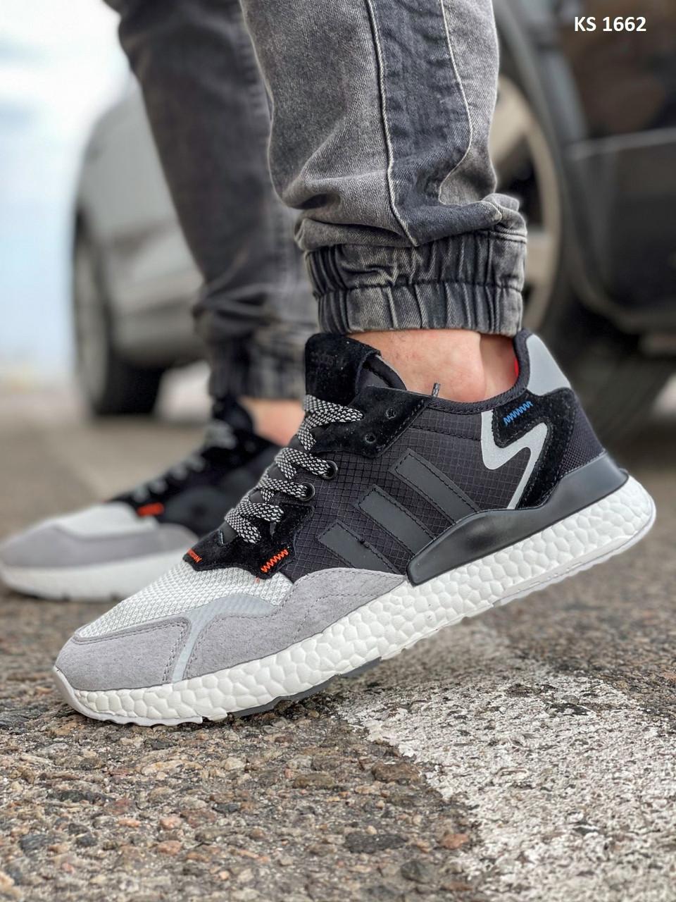 Кроссовки мужские Adidas Nite Jogger Boost текстильные серые Рефлектив Адидас (Топ реплика ААА+)