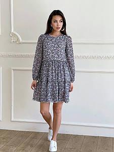 Платье свободного кроя в цветочный принт из креп-шифона 42-46 р