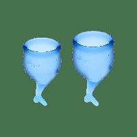 Набор менструальных чаш, 15 мл и 20 мл (синий) Satisfyer Feel Secure