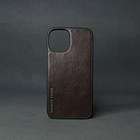Кейс для IPhone 12 Pro Max глянцева шкіра шоколад