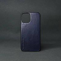 Кейс для IPhone 12 Pro Max глянцева шкіра синій