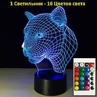 """3D Светильник """"Леопард"""", 1 Светильник - 16 разных цветов света, оригинальные корпоративные подарки"""