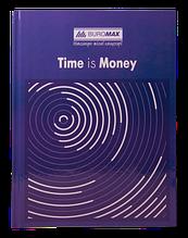 Книга канцелярская TIME IS MONEY, А4, 96 л., клетка, офсет, твердая ламинированная обложка, синяя