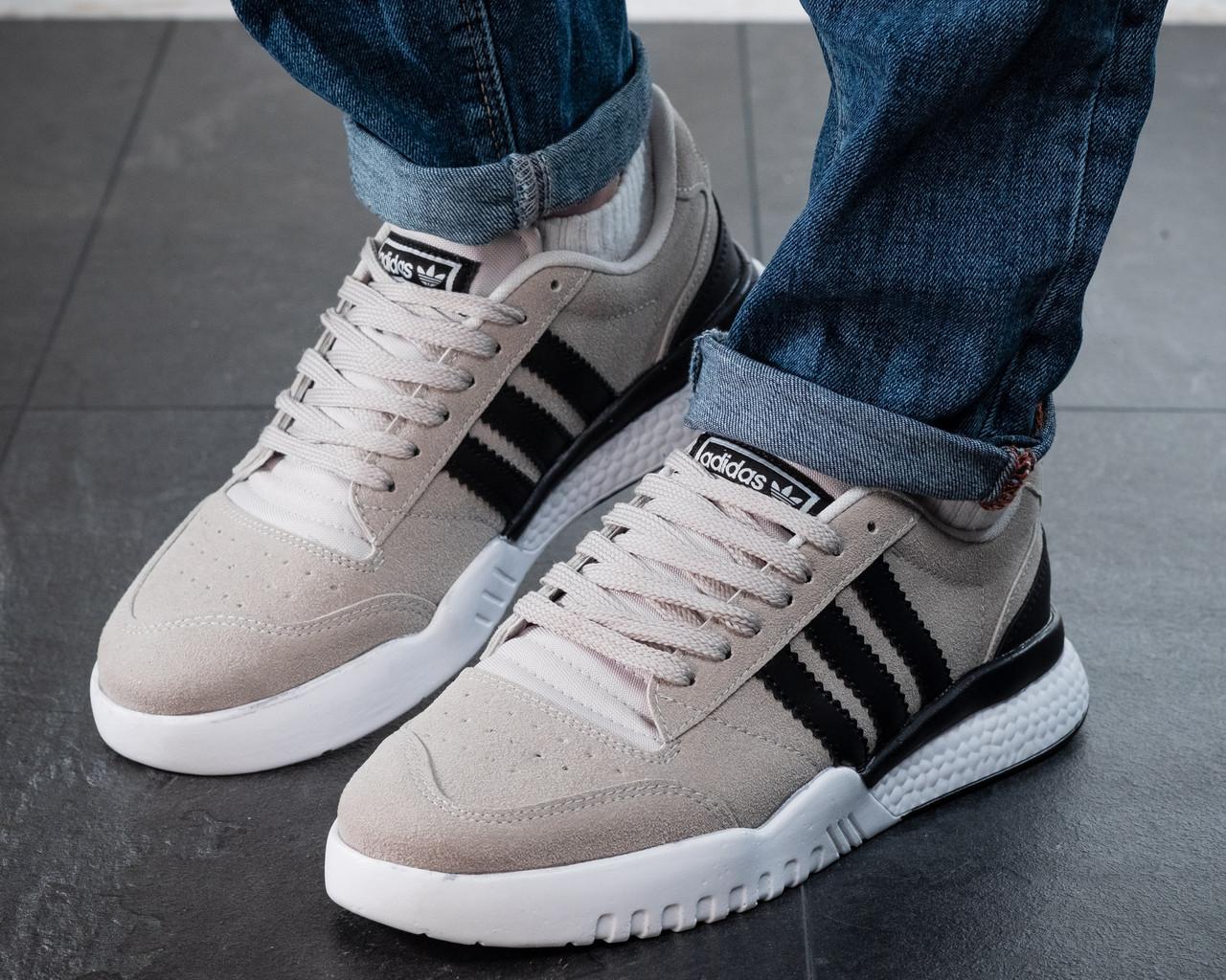 Мужские кроссовки Adidas Neo Серые Замшевые, Реплика