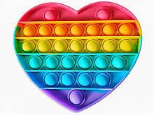 Сенсорная игрушка Pop It Push Bubble Fidget Antistress Бесконечная Пупырка антистресс, сердце радужное
