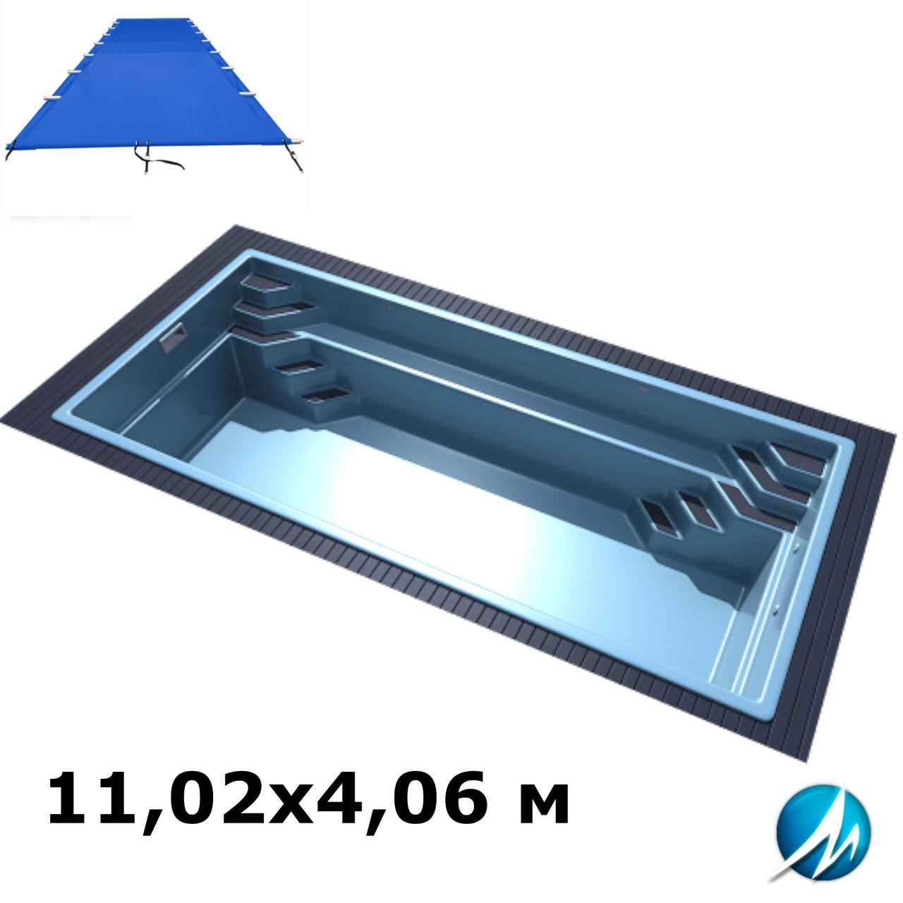 Поливиниловое накрытие для стекловолоконного бассейна 11,02х4,06 м