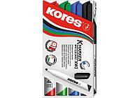 Набор маркеров для белых досок KORES 1-3 мм, 4 цвета в блистере