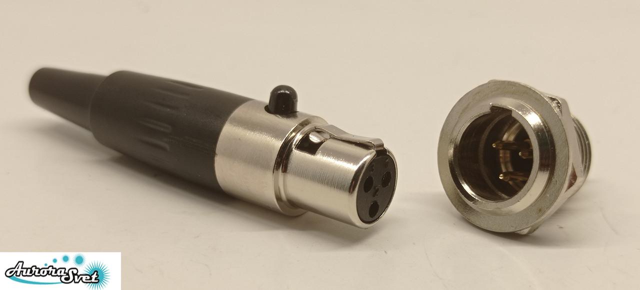 Разъем Mini XLR аудио для микрофона 3-контактный черный комплект вилка розетка под пайку