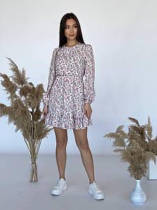 Платье в цветочный принт с оборкой из софта 42-46 р