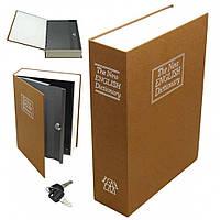 Книга-сейф кешбокс в виде книги металлическая Maxland Английский словарь на ключе на подарок 26 см, коричневая