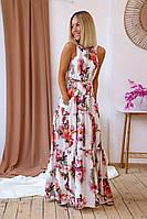 Красивое Летнее Женское платье сарафан в пол Ткань софт Цветочный принт Размер 42-46