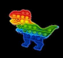 Радужный Динозавр Сенсорная игрушка антистресс Pop It Push Bubble Fidget Antistress Бесконечная Пупырка