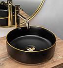 Умывальник Rea Sami 36x36 black matt/gold (REA-U0595), фото 2