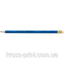 Олівець чорнографітний НВ з гумкою