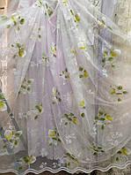 Гардина біла коротка з кольоровим узором висотою 2м/ Гардина белая короткая с цветым узором высотой 2м, фото 1