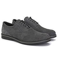 Сірі туфлі літні замшеві з перфорацією чоловіче взуття великих розмірів Rosso Avangard Felicete Grey Perf BS