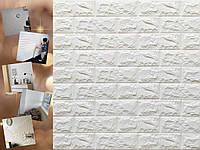 3Д панель самоклеюща 700х770х7мм Шпалери під декоративну цеглу Самоклейка 3Д Білий