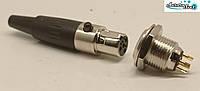 Роз'єм Mini XLR аудіо 4-контактний для мікрофона чорний комплект вилка розетка під пайку, фото 1