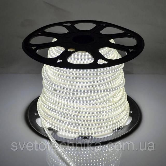 Герметичная светодиодная лента 220V 120 диод/м. холодный свет