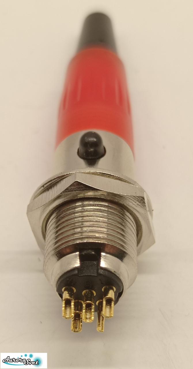 Разъем Mini XLR аудио 4-контактный для микрофона красный комплект вилка розетка под пайку