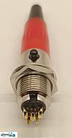Разъем Mini XLR аудио 4-контактный для микрофона красный комплект вилка розетка под пайку, фото 1