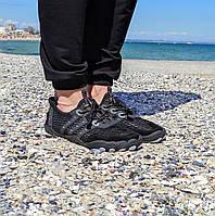 Чорні аквашузи чоловічі коралки аквавзуття шльопанці для моря аква взуття сліпони мокасини на море пляж