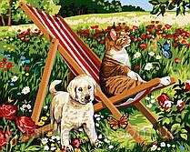 Картина по номерам Дачные любимцы 40*50см Brushme  Кот Пес Прикольные животные Собаки