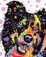 Картина по номерам Пес в красках 40*50см Brushme  Радужные животные Пес Собаки